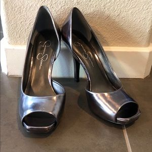 Only worn a few times Jessica Simpson pewter heels
